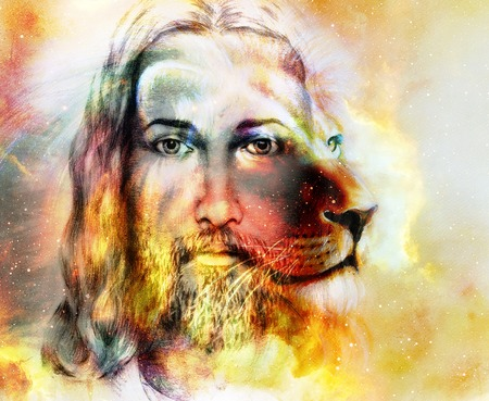painting of Jesus with a lion, on beautiful colorful background with hint of space feeling, lion profile portrait Stockfoto