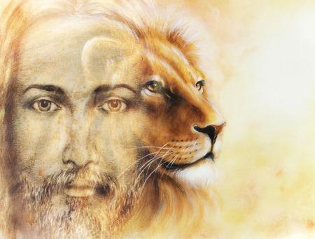 pintura de Jesús con un león, en el fondo hermoso colorido, el contacto visual y el perfil de león retrato