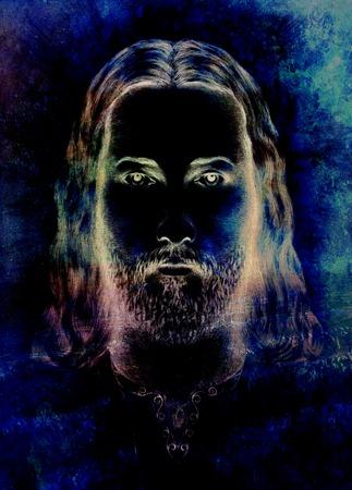 sepulcher: radiant Jesus Christ silhouette on dark background, eye contact Stock Photo