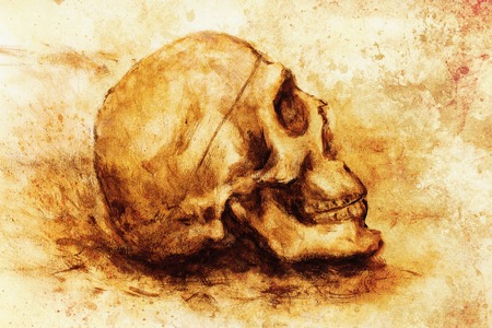 spook: painting skull  on paper and sepia background Stock Photo