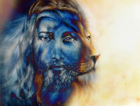 redemption: painting of Jesus with a lion, on beautiful colorful background, eye contact and lion profile portrait
