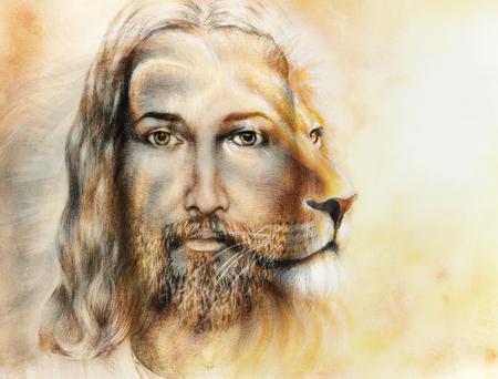 아름 다운 화려한 배경, 눈 접촉 및 사자 프로필 초상화에 사자와 예수님의 그림 스톡 콘텐츠