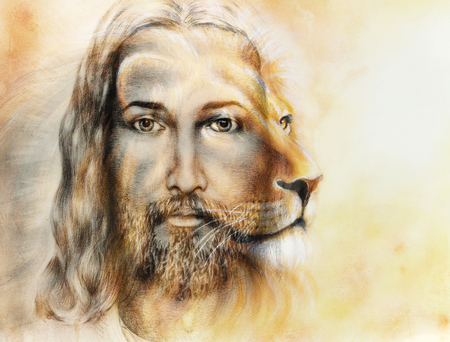 painting of Jesus with a lion, on beautiful colorful background, eye contact and lion profile portrait