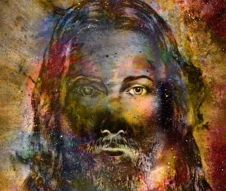 radiant light: Jesus Christ painting with radiant colorful energy of light, eye contact Stock Photo