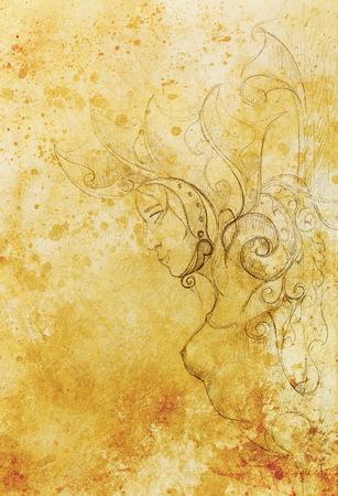 Mystical Woman goddess pillar statue with beautiful ornament. Original hand draw
