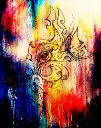 mystische Frau Auge mit Blumenverzierung. Zeichnung auf Papier, Farbe Effekt. Blickkontakt