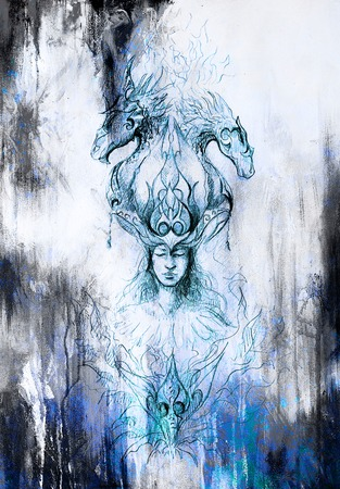 color tribal tattoo: Man in mystic fire and ornamental dragons, pencil sketch on paper, blue vinter effect