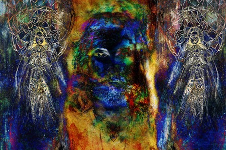 loving: Jesus and beautiful angel being with dove and sprig, spiritual concept. Jesus face in cosmic space Stock Photo