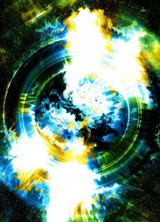 psique: altavoz de la música de la silueta y el espacio con estrellas. color de fondo abstracto. concepto de la música