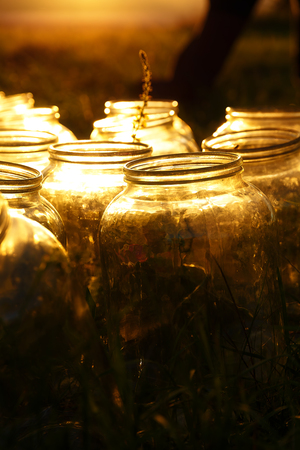 miraculous: Set of empty bottling jars at sunset with miraculous evening light Stock Photo