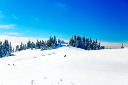 blazed: Beautiful mountain landscape and snowy paths in the snow with tourists