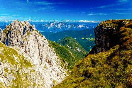 Beautiful summer landscape. Slovenia mountain and valley Stock Photo