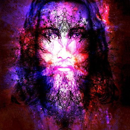 loving: Jesus Christ painting with ornament tree symbolising life, in cosmic space, eye contact