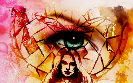 awakening: abstract woman head with eye above her on abstract mosaic background