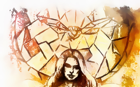 abstract woman head and dove on stained glass pattern background
