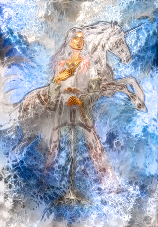 medieval dress: heroic woman in medieval dress with sword and unicorn, computer graphic, winter frost effect