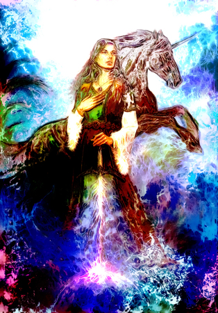 medieval dress: heroic woman in medieval dress with sword and unicorn, computer graphic
