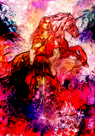 medieval dress: heroic woman in medieval dress with sword and unicorn, computer graphic, fire effect