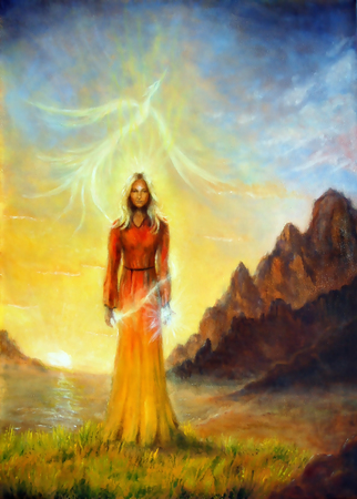 An enchanting mystical priestess with a sword of light and phoenix bird, graphic effect