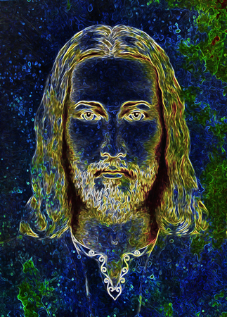 graphic art design, face of Jesus Christ, computer collage version. Eye contact. Spiritual concept