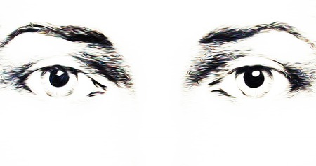 iconography: harmonic peaceful spiritual eyes, graphic collage on white background