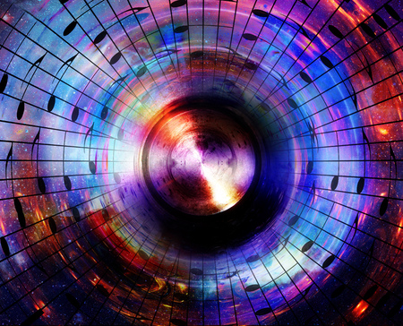subwoofer: music notes and silhouette of music speaker in space with stars. abstract color background. Music concept Stock Photo