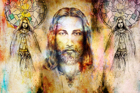 Jesus and beautiful angel being with dove and sprig, spiritual concept. Jesus face in cosmic space Stock Photo