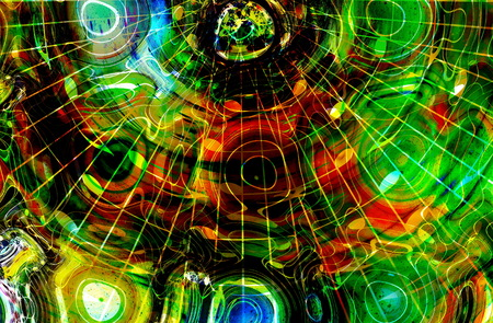 metaphysical: graphic design illustration of notes and note lines in circle structure, music concept Stock Photo