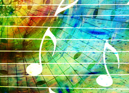 psyche: music notes in space with stars. abstract color background. Music concept