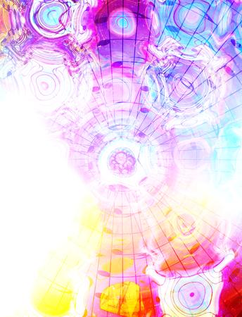 psique: Ilustración de diseño gráfico de los billetes y líneas de la nota en la estructura del círculo, el concepto de música Foto de archivo