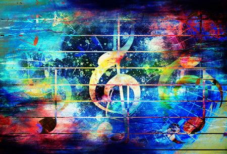 음악 노트와 바이올린 음자리표와 아름 다운 추상 화려한 콜라주 스톡 콘텐츠