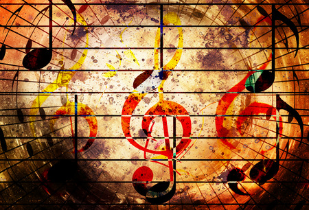abstract set of music clefs and lines with notes, music theme graphic collage Stock Photo