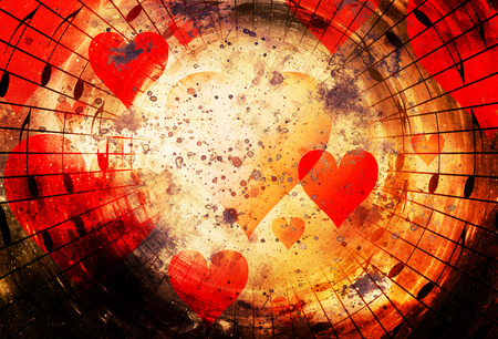 metaphysical: beautiful collage with hearts and music notes in cosmic space, symbolizining the love to music Stock Photo