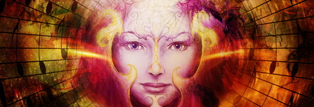 beautiful face of mystical being with music notes, symbol of the muse of music with phoenix birds sign on head in space Stock Photo
