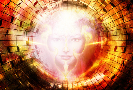 metaphysical: beautiful face of mystical being with music notes, symbol of the muse of music with phoenix birds sign on head in space Stock Photo