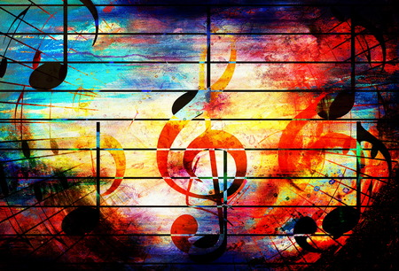red sound: beautiful abstract colorful collage with music notes and the violin clef