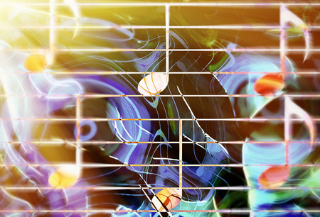 melodic: graphic design illustration of notes and note lines, music concept