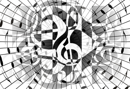 metaphysical: abstract music theme background with music note and clef, modern design, black and white color