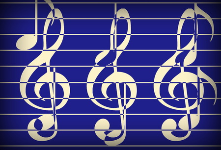 metaphysical: blue music theme background with clef, modern design