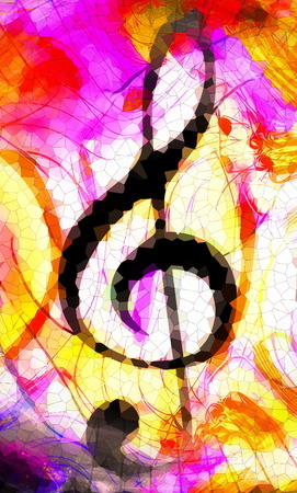 abstract music theme background with music clef, modern design. Mosaic effect Stock Photo
