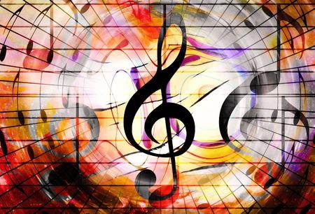 Musiknoten und Notenschlüssel im Raum mit Sternen. abstrakten farbigen Hintergrund. Musik-Konzept