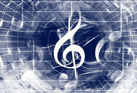 metaphysical: music notes and clef in space with stars. abstract color background. Music concept