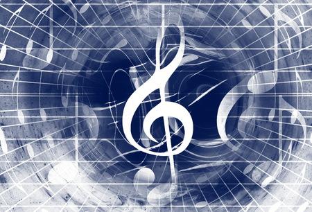 Notas musicales y el clef en el espacio con estrellas. color de fondo abstracto. concepto de la música Foto de archivo - 65374873