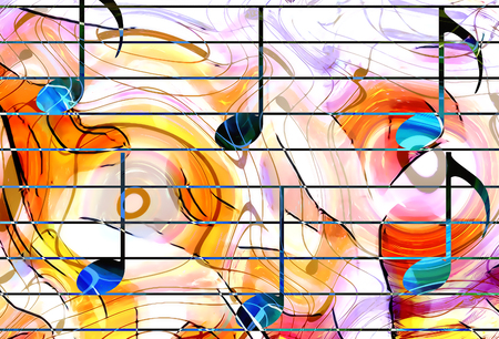 color music notes and color background. Music concept Stock Photo
