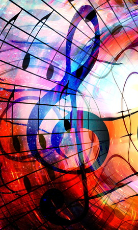 psyche: music notes and clef in space with stars. abstract color background. Music concept