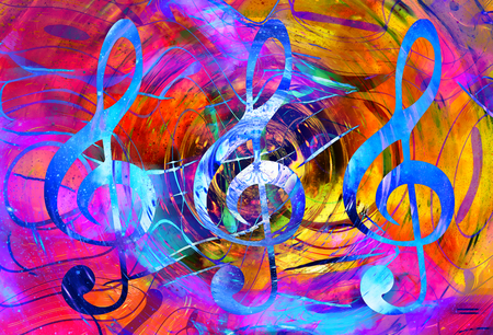 psique: music clef in space with stars. abstract color background. Music concept