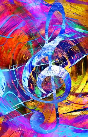 musique clef dans l'espace avec étoiles. abstrait couleur. concept Musique