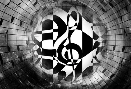 psyche: graphic design illustration of notes and note lines. music concept. Black and white