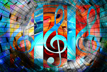 abstract music: music notes in space with stars. abstract color background. Music concept. Copy space Stock Photo