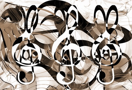 metaphysical: abstract music theme background with clef and notes, sepia background. Stock Photo